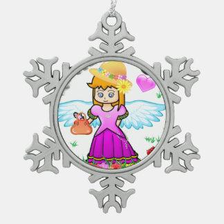 """Ornamento para el chica """"pequeña princesa """" adorno de peltre en forma de copo de nieve"""