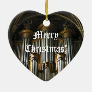 Ornamento parisiense del navidad del órgano adorno navideño de cerámica en forma de corazón