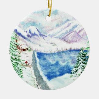 Ornamento pasado del árbol de navidad adorno navideño redondo de cerámica