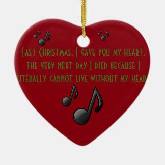 Ornamento pasado del corazón del navidad adorno navideño de cerámica en forma de corazón