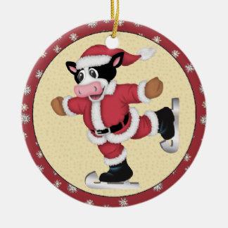 Ornamento patinador de la vaca del navidad ornamentos de reyes
