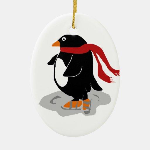 Ornamento patinador del recuerdo del pingüino ornamento para reyes magos