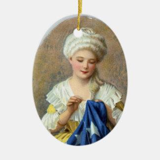 Ornamento patriótico--Betsy Ross Adorno Navideño Ovalado De Cerámica