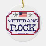 Ornamento patriótico de la roca de los veteranos ornamentos para reyes magos