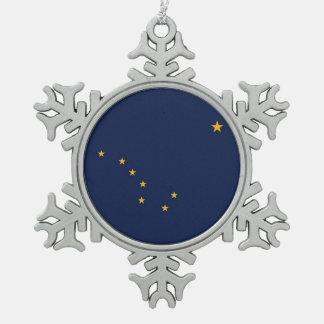 Ornamento patriótico del copo de nieve con la adorno de peltre en forma de copo de nieve