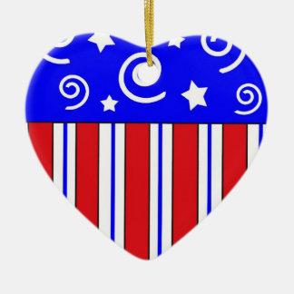 Ornamento patriótico del navidad del corazón adorno navideño de cerámica en forma de corazón