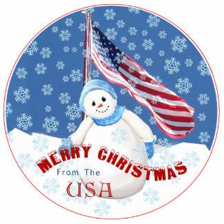Ornamento patriótico del navidad del muñeco de nie adorno fotoescultura