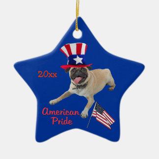 Ornamento patriótico del recuerdo del barro adorno navideño de cerámica en forma de estrella