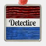 Ornamento patriótico detective del navidad adorno navideño cuadrado de metal