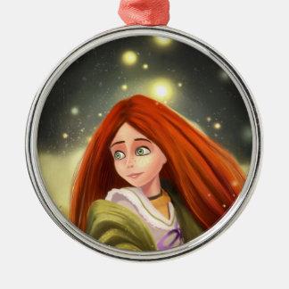 ornamento pelirrojo del chica del dibujo animado adorno redondo plateado