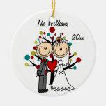 Ornamento personalizado 1r navidad de los pares de ornaments para arbol de navidad