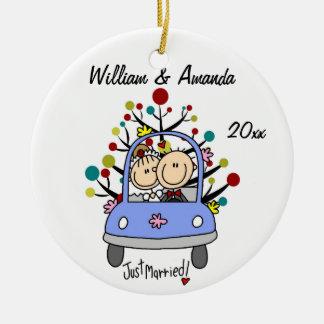 Ornamento personalizado 1r navidad del coche del adorno navideño redondo de cerámica