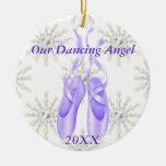 Ornamento personalizado 2012 del ballet/del baile adorno navideño redondo de cerámica