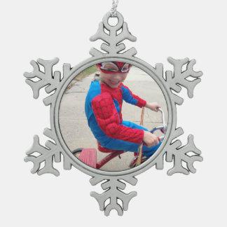 Ornamento personalizado adorno de peltre en forma de copo de nieve