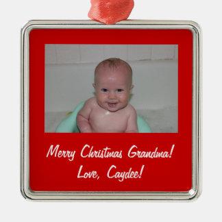 Ornamento personalizado adorno navideño cuadrado de metal