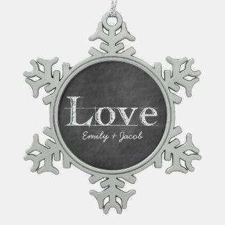 Ornamento personalizado amor de la pizarra adorno de peltre en forma de copo de nieve