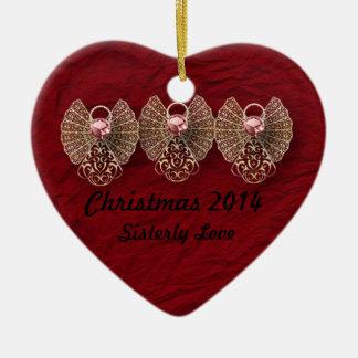 Ornamento personalizado amor fraternal del corazón adorno