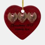 Ornamento personalizado amor fraternal del corazón adornos de navidad