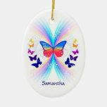 Ornamento personalizado arco iris abstracto de la adorno navideño ovalado de cerámica