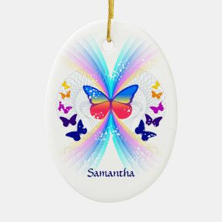 Ornamento personalizado arco iris abstracto de la adorno ovalado de cerámica