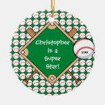 Ornamento personalizado béisbol del navidad del mu adorno