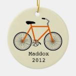 Ornamento personalizado bicicleta anaranjada ornamento de navidad