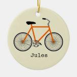 Ornamento personalizado bicicleta anaranjada ornaments para arbol de navidad