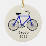 Ornamento personalizado bicicleta azul ornamentos de reyes magos