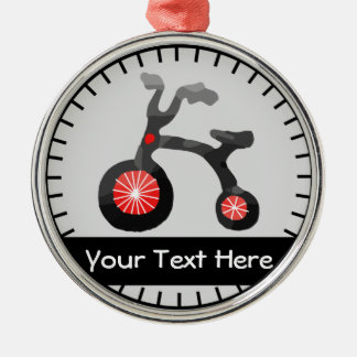 Ornamento personalizado bicicleta negra gris roja adorno navideño redondo de metal
