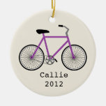 Ornamento personalizado bicicleta púrpura ornamentos de navidad