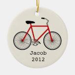 Ornamento personalizado bicicleta roja ornamente de reyes