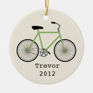 Ornamento personalizado bicicleta verde adorno redondo de cerámica