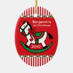 Ornamento personalizado caballo mecedora del navid ornatos