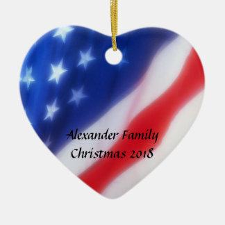 Ornamento personalizado corazón de la bandera amer ornamento para reyes magos