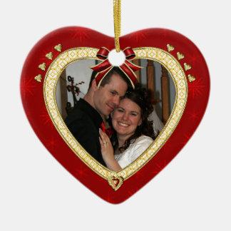 Ornamento personalizado corazón rojo de la foto ornamentos para reyes magos
