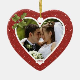 Ornamento personalizado corazón rojo del día de adorno