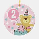 Ornamento personalizado cumpleaños del oso de pelu adorno de navidad