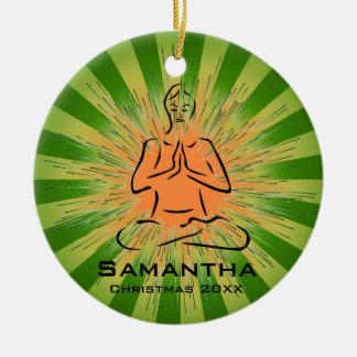 Ornamento personalizado de la actitud de la yoga ornamento para arbol de navidad