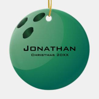 Ornamento personalizado de la bola de bolos adorno navideño redondo de cerámica