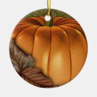 Ornamento personalizado de la calabaza gigante adorno navideño redondo de cerámica