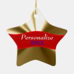 Ornamento personalizado de la estrella del oro ornamente de reyes