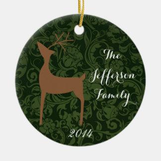 Ornamento personalizado de la familia de los adorno navideño redondo de cerámica