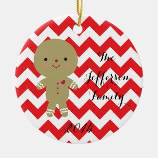 Ornamento personalizado de la familia del pan de adorno navideño redondo de cerámica