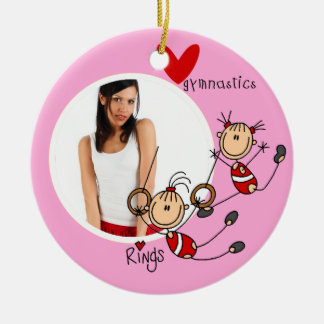 Ornamento personalizado de la foto de la gimnasia adorno navideño redondo de cerámica