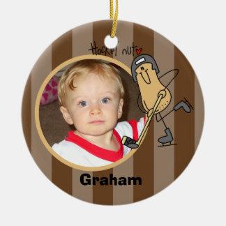Ornamento personalizado de la foto de la nuez del adorno navideño redondo de cerámica