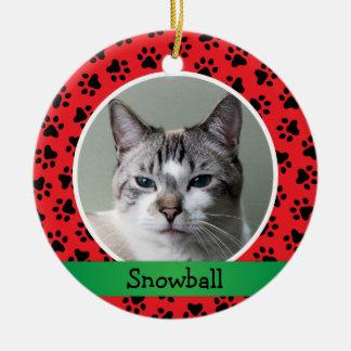 Ornamento personalizado de la foto del gato del adorno navideño redondo de cerámica