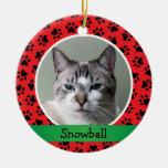 Ornamento personalizado de la foto del gato del ma ornato