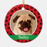 Ornamento personalizado de la foto del mascota del adorno navideño redondo de cerámica