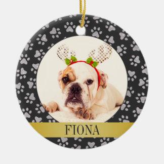 Ornamento personalizado de la foto del perro adorno navideño redondo de cerámica