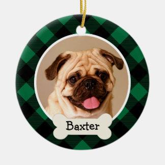 Ornamento personalizado de la foto del perro de adorno redondo de cerámica